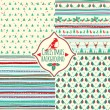 Set of four Christmas patterns — Stock Vector