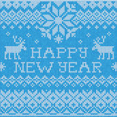 Happy New Year: Scandinavian style seamless knitted pattern with — Stock vektor