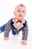 Baby wearing suit on white background — Stock fotografie