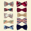 Set of vector bow-ties — Stock Vector