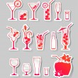Cocktails and glasses with alcohol on stickers — Stock Vector #36217151