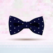 Dark blue vector bow-tie patterned by dots — Stock Vector