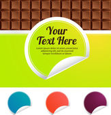 Green label on a chocolate bar — Stock Vector
