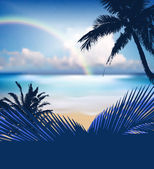 Summer beach with palm tree — Stock Vector