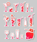 Cocktails and glasses with alcohol on stickers — Stock Vector