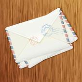 Retro envelopes on wooden background — ストックベクタ