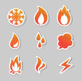 Fire, freeze, steam, water icons — Stock Vector
