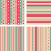 Set of four patterns in pink palette for Valentine's Day — Stock Vector