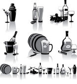 Black-and-white still-life of spirits and glasses with reflection — Stock Vector