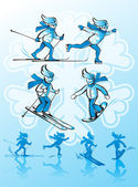 Image of winter sports. Alpine skiing, cross-country skiing, snowboarding, ice skating. — Stock Vector