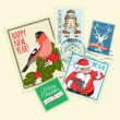 Set of Christmas postal stamps — Imagen vectorial