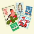 Set of Christmas postal stamps — Stock Vector