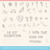 Valentine's Day Sketch Icon and Inscription Set for your design — Vecteur