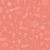 Valentine's Day seamless pattern. Sketch style — Stock Vector