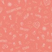 Sevgililer günü seamless modeli. kroki tarzı — Stok Vektör