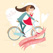 Loving couple on the bicycle. Valentine's day greeting card. — Stock Vector