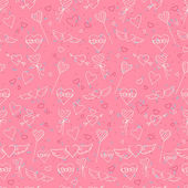 Sketch style Valentine's Day seamless pattern — Stock Vector