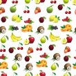 Seamless pattern of different fruits with leaves and flowers — Stock Vector