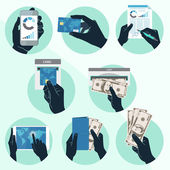 Icon set with Hands holding credit card, smartphone, money and o — Stock Vector