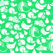 Fruit white silhouette seamless pattern — Stock Vector