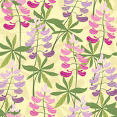 Seamless floral lupine pattern — Stock Vector