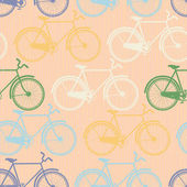 Seamless pattern of colorful bicycles. Flat style — Stock Vector