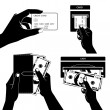 Icon set with Hands holding credit card, smartphone, money and o — Vecteur #44986381