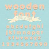 Vintage wooden alphabet. Flat style — Stock Vector