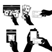 Icon set with Hands holding credit card, smartphone, money and o — Stockvektor