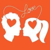 Profiles of man and woman connected by love wire — Stock Vector