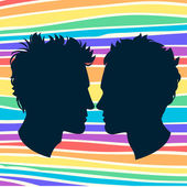 Profiles of two men homosexual couple. Rainbow background — Stock Vector