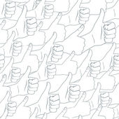 Thumbs up. Drawn by hands seamless pattern. Flat style — Stock Vector