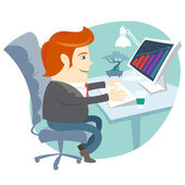 Office man sitting at his working desk — Stock Vector
