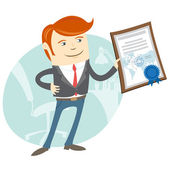 Office man showing a diploma — Stock Vector