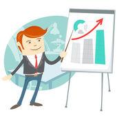 Office man presentating a graph on flipchart — Stock Vector