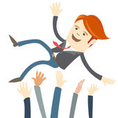 Empresário bem sucedido, sendo vomitando por seu colega. — Vetor de Stock