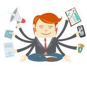 Biuro człowiek z ośmiu rąk medytacji w zajęty wor — Wektor stockowy