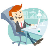 Office man sitting at his working desk with phone — Stock Vector
