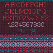 Christmas Font Scandinavian style seamless knitted — Stock Vector