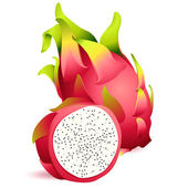 Icon of Ripe exotic dragonfruit with slice — Stock Vector