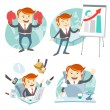 Office man hipster set: showing a presentation, Happy worker at — Stock Vector #49202649