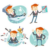 Vector Illustration Set of hipster officeman: lazy worker foot o — Stock Vector