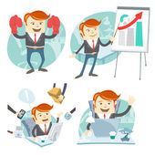 Office man hipster set: showing a presentation, Happy worker at  — Stock Vector