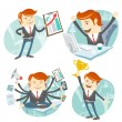 Office man hipster set: showing a graph, Happy worker at his des — Stock Vector #49371477