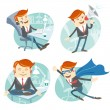 Office man hipster set: flying super man wearing blue mackintosh — Stock Vector #49371835