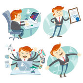 Office man hipster set: showing a diploma, Happy worker, busy wh — Stock Vector