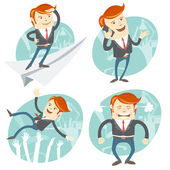 Set of hipster officeman: Office man flying an looking to the fu — Stock Vector