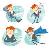 Office man hipster set: flying super man wearing blue mackintosh — Stock Vector