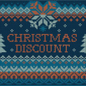 Christmas discount: Scandinavian style seamless knitted pattern  — Stock Vector
