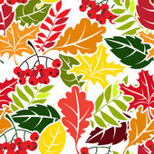 Autumn leaves seamless pattern. Flat style — Stock Vector